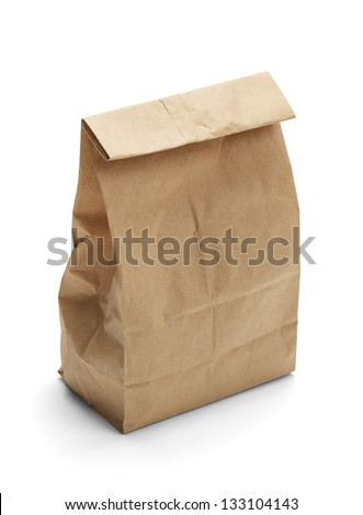 Brown Paper Bag Lunch with Copy Space Isolated on White Background. - stock photo