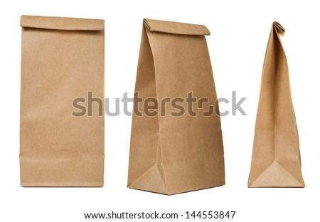 Brown paper bag set isolated on white background - stock photo