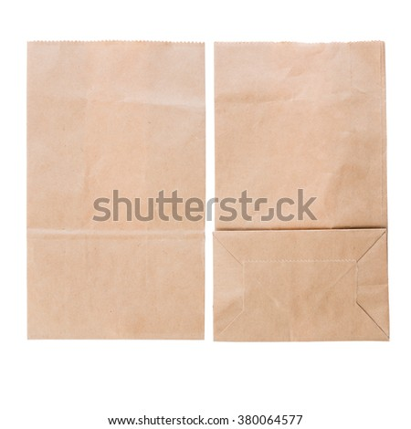 Brown paper bag top view isolated on white background - stock photo