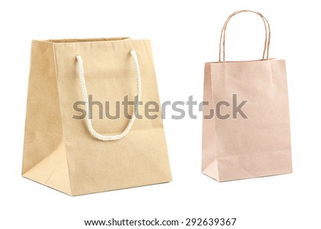 brown paper bags isolated on white background - stock photo