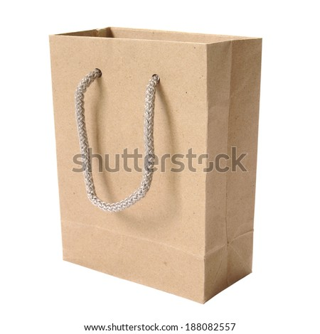 Brown paper bags on white background. - stock photo