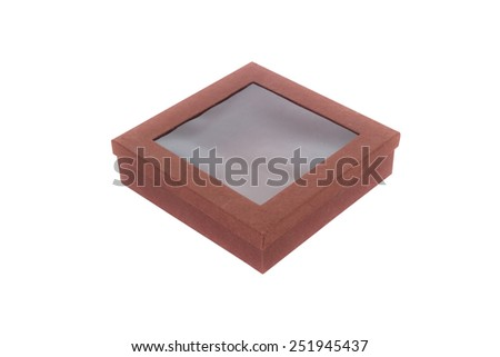 brown paper box with transparent window isolate on white background  - stock photo