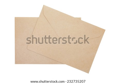 Brown paper envelope isolated on a white background - stock photo