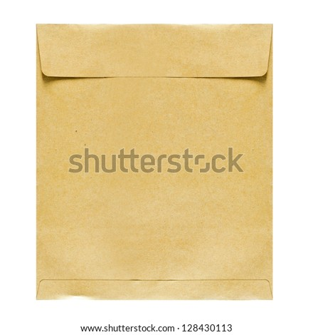 Brown paper envelope on white background - stock photo