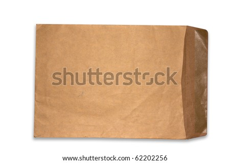 Brown paper Envelope open isolate on white background - stock photo