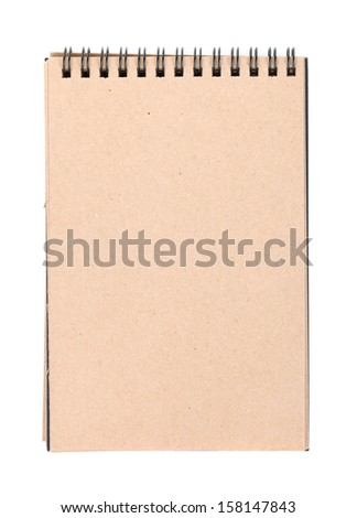 Brown paper notepad. Isolated on white background - stock photo