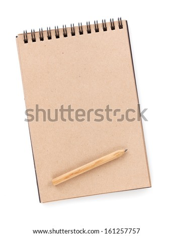 Brown paper notepad with pencil. Isolated on white background - stock photo