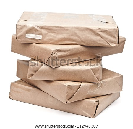 Brown paper packages - stock photo