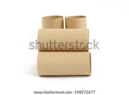 Brown paper rolls. - stock photo
