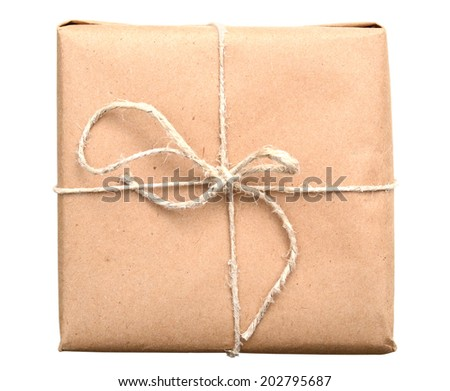 Brown Parcel With Thin Tied Rope Isolated On White Background - stock photo