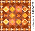 Brown patchwork quilt ornament flowers folk style - stock photo