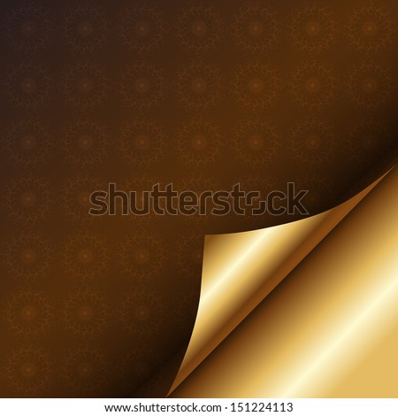 Brown patterned paper with a curl. Luxury background with a golden brown. Raster copy  - stock photo