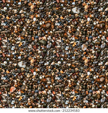 Brown pebble stone floor background seamless and texture - stock photo