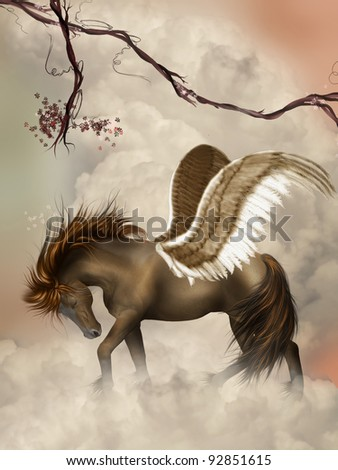 brown pegasus in the sky with branches - stock photo
