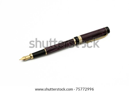 brown pen isolated - stock photo