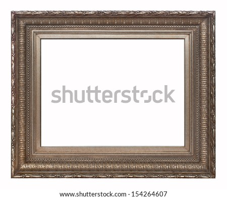 Brown picture frame isolated on white background. - stock photo