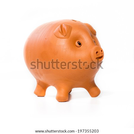 Brown piggy bank on white background - stock photo