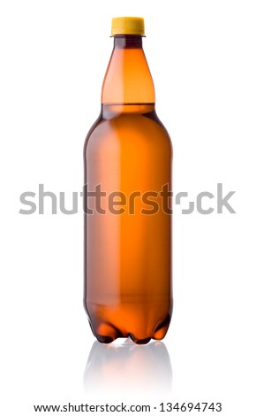 Brown plastic bottle of beer isolated on a white background - stock photo