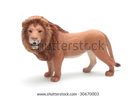 Brown Plastic Toy Lion on White Background - stock photo