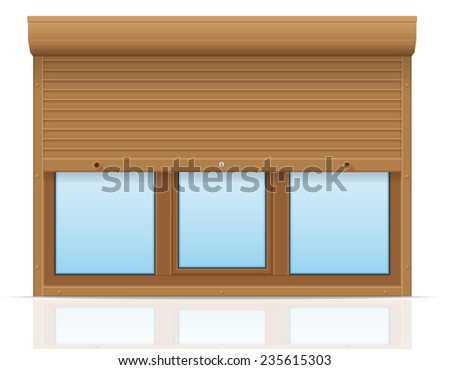 brown plastic window with rolling shutters illustration isolated on white background - stock photo