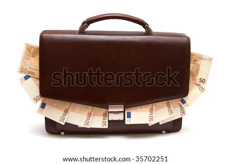 brown portfolio with the money - stock photo