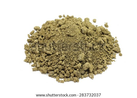 brown powder dry clay on a white background - stock photo