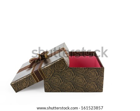 Brown present box with flower roses wrap by ribbon Isolated on white background. Include clipping path. - stock photo