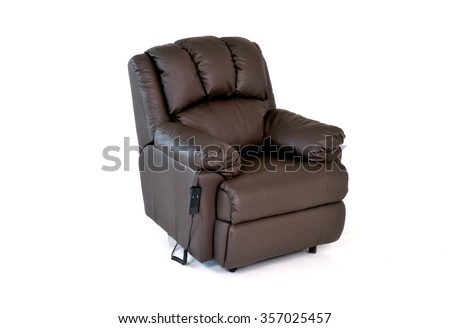 Brown reclining leather chair with controls on white background - stock photo