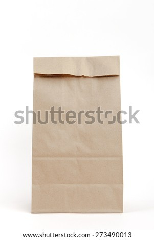 Brown recyclable paper bag - stock photo