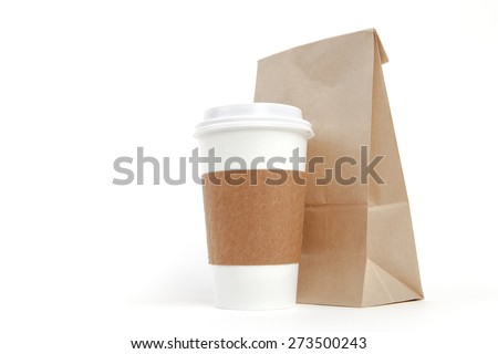 Brown recyclable paper bag and cup - stock photo