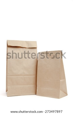 Brown recyclable paper bags - stock photo