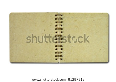 Brown recycle paper notebook isolated on white - stock photo