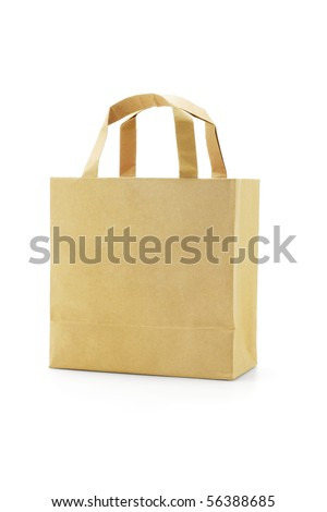 Brown reusable paper bag on white background - stock photo