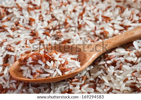 Brown rice and white rice  with wooden spoon - stock photo