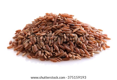 Brown rice isolated - stock photo