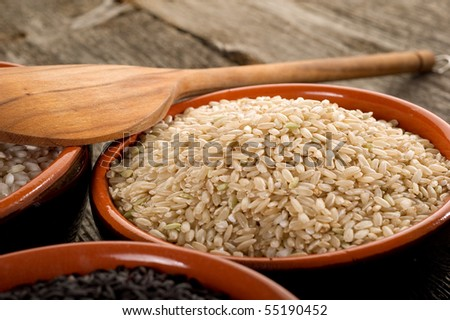 brown rice on bowl - stock photo