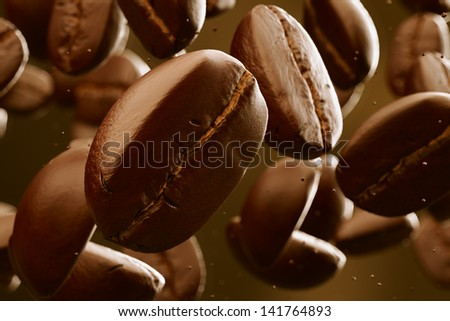 Brown roasted coffee beans falling. Dark background. May represent breakfast, energy, freshness or great aroma. - stock photo