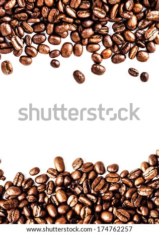 Brown roasted coffee beans isolated on white Coffee beans frame. background.  Arabic roasting coffee ingredient of hot beverage.  Fragrant fried coffee beans close up. - stock photo
