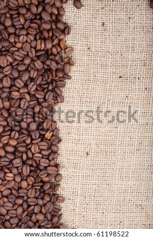 Brown roasted coffee beans. Shot in a studio - stock photo