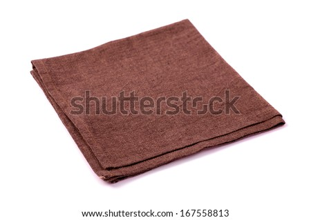 Brown rough napkin on a white background - stock photo