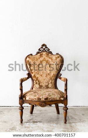 Brown Royal classical style Armchair sofa couch in vintage room  - stock photo