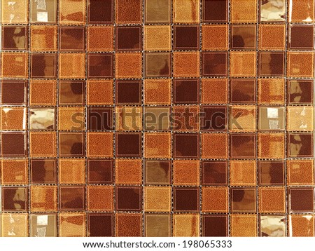brown shade leather ceramic mosaic tile background - stock photo