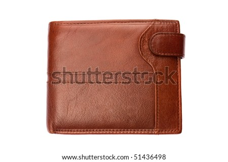 Brown shiny wallet isolated on white background - stock photo