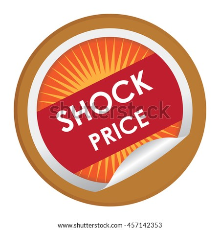 Brown Shock Price Special Promotion Campaign Infographics Icon on Circle Peeling Sticker Isolated on White Background  - stock photo