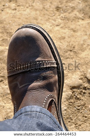 brown shoe on foot - stock photo