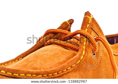 Brown shoe on white background - stock photo