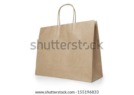 Brown shopping bag - stock photo