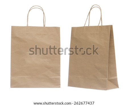Brown Shopping Bag Isolated on White Background. - stock photo