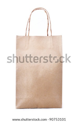 Brown shopping bag made from recycled paper - stock photo