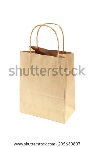 Brown Shopping Bag with Handles Isolated on White  - stock photo